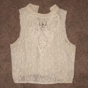 Free People cream lace crop top size M